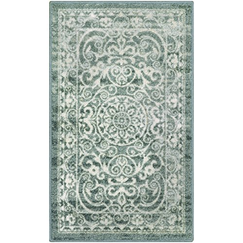 Maples Rugs Kitchen Rug - Pelham 1'8 x 2'10 Non Skid Small Accent Throw Rugs [Made in USA] for Entryway and Bedroom, Light Spa