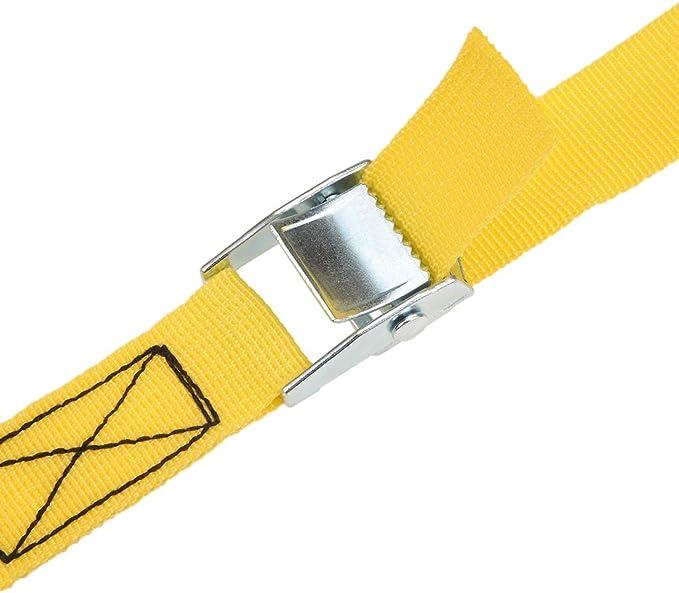 amarillo sourcing map Amarre de amarre de carga de 10 mx25 mm con hebilla de leva Carga de trabajo de 250 kg