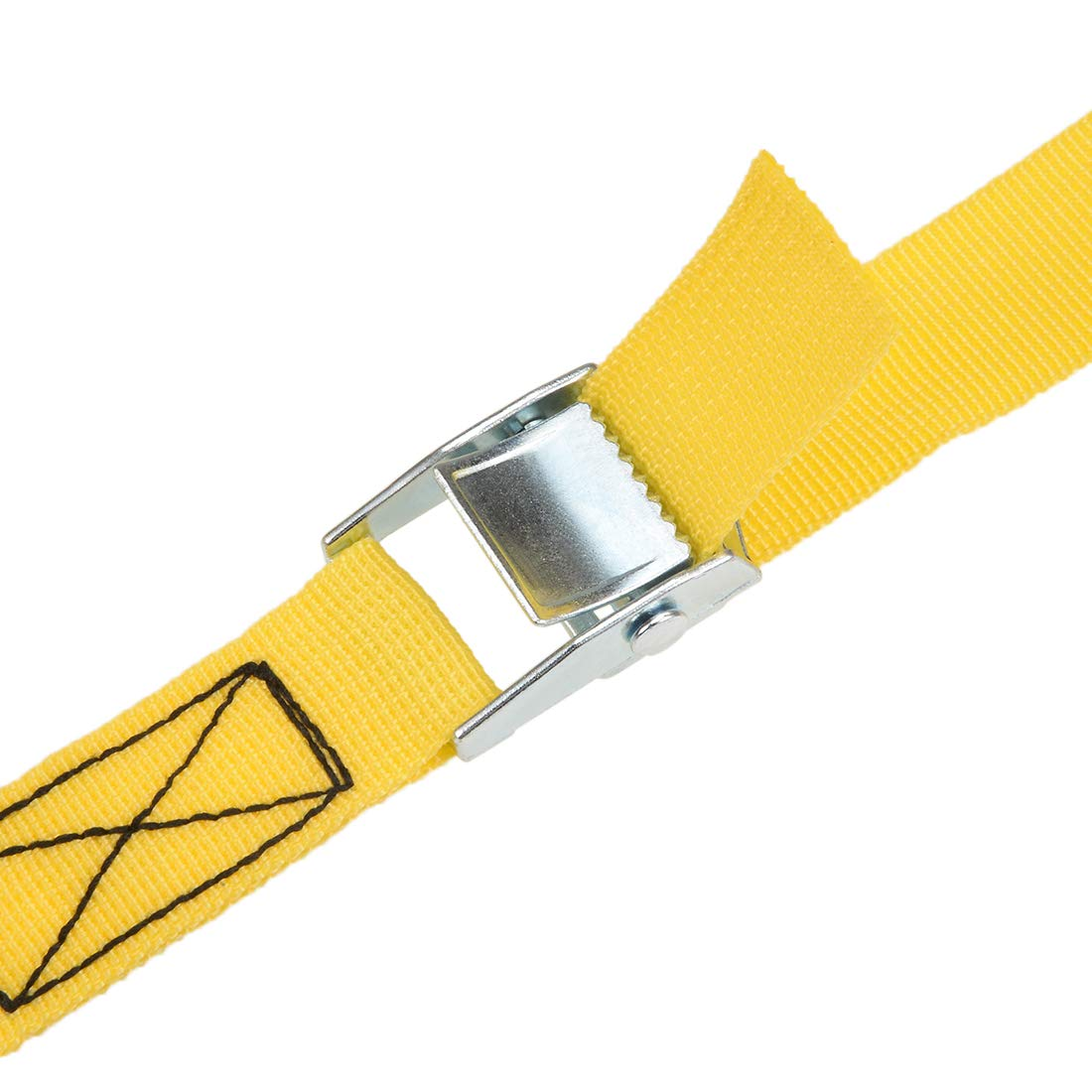 4Pcs Yellow uxcell 4M x 25mm Lashing Strap Cargo Tie Down Straps w Cam Lock Buckle 250Kg Work Load