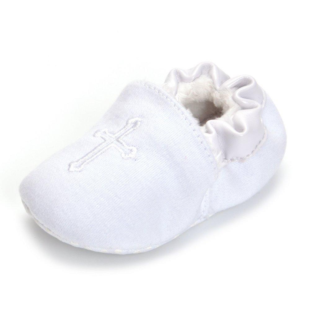 ESTAMICO Baby Jungen Mädchen Weiche Sohle Weiße Kreuz Gestickt Taufschuhe