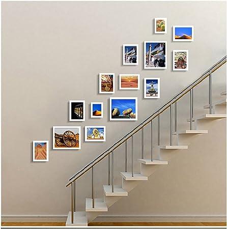 Foto de la pared 14 Europea Madera Creativa Escalera Corredor de Madera Combinación Marco de Fotos de Fondo Decoración de Pared Hall Photo Wall Pared del marco de fotos (Color : Blanco):