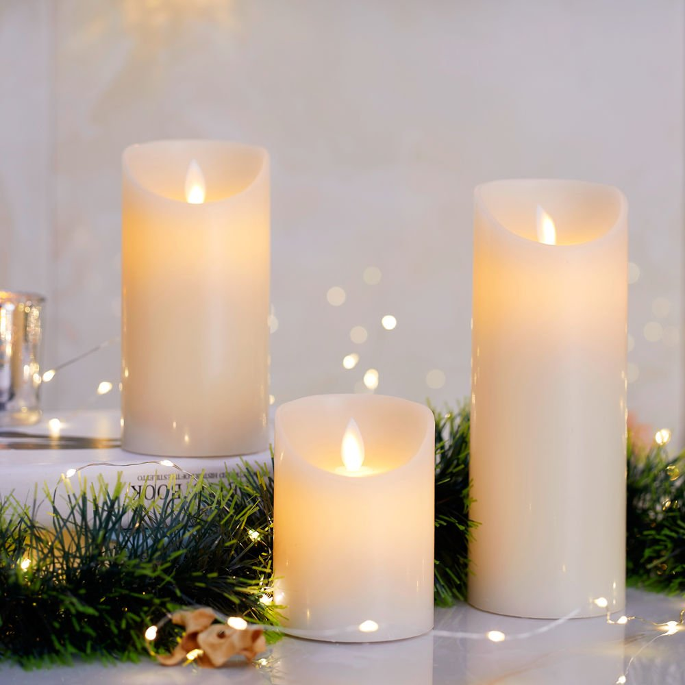 Glowiu Flameless Flickering Led Candles Moving Flame Battery Circuits Candle Set Of 3 H 4 6