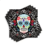 "Amscan Day of the Dead Sugar Skull Disposable Luncheon Paper Napkins (36 Piece), Multicolor, 6.5"" x 6.5"""