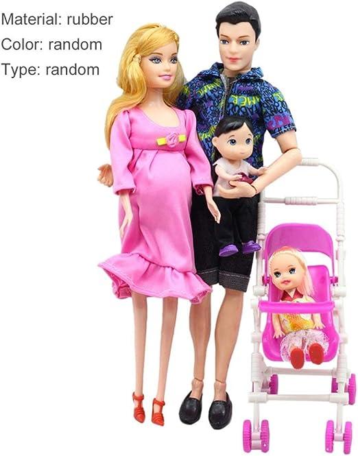 Lorenlli 5 Personas Traje de Muñecas Muñeca Embarazada Familia ...