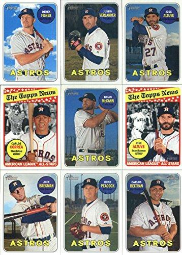2018 Topps Heritage Houston Astros Team Set of 24 Cards: Jose Altuve(#35), Derek Fisher(#56), Justin Verlander(#58), Brian McCann(#77), Jose Altuve(#78), Alex Bregman(#119), Brad Peacock(#120), Carlos Correa(#127), Carlos Beltran(#148), Game 2(#163), Game 3(#164), Game 5(#166), Game 7(#168), Celebration(#169), Evan Gattis(#196), Dallas Keuchel(#202), Cameron Maybin(#205), Yuli Gurriel(#208), Carlos Correa(#214), Ken Giles(#269), plus more