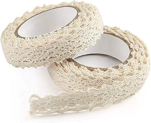 2Pcs Beige de Encaje Vintage Cinta de Encaje Cinta de algodón Cinta Decorativa Cinta de encaje Cinta de algodón de algodón beige Adorno de encaje vintage para Coser, artesanía, Boda decoración: Amazon.es: