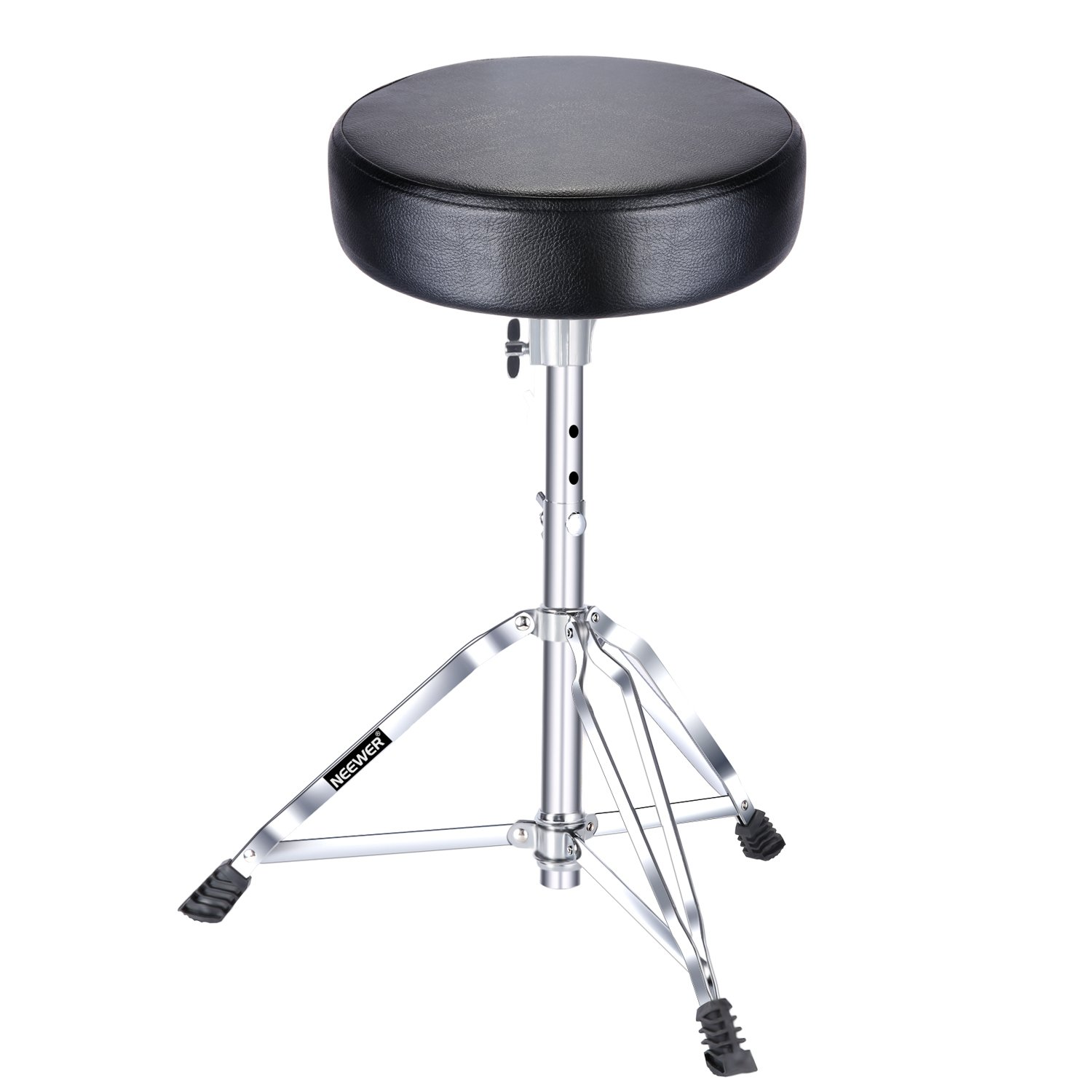 Neewer Stable Drum Throne - 19.3-23.2inches/49-59 centimeters Adjustable Height with Tripod Base, Double Brace Leg, Slip-Proof Rubber Feet, 11.8 -inch Round top, Black (NW-001)