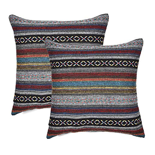 (Merrycolor Decorative Throw Pillow Cover for Couch Sofa Bed Set of 2 Bohemian Retro Stripe Cotton Pillowcase Blend Linen Cushion Cover 18 x 18 Inch (Only Pillow Cover) (2 Pack))