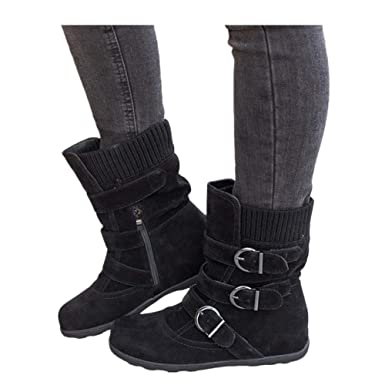 b9b6b3fcca3d Women s Winter Snow Boots Zipper Buckles Strap Warm Ankle Mid Flat Boot ( Black