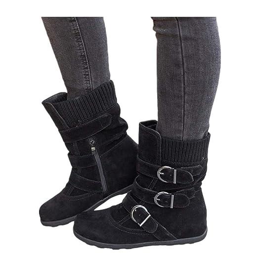 5c797f735553b Amazon.com: Women's Winter Snow Boots Zipper Buckles Strap Warm ...