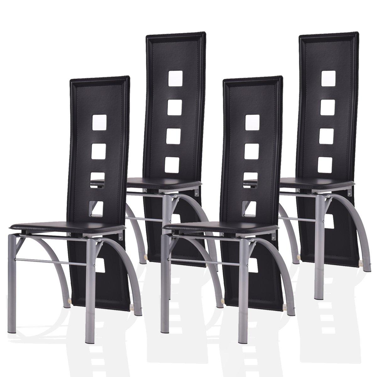 Blitzzauber24 Lot de 4 Chaise de Salle à Manger Moderne Cuisine Meuble Noir Siège Salon