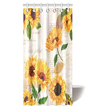 InterestPrint Vintage Style Floral Shower Curtain Vibrant Yellow Watercolor Sunflowers On The Background Of Old