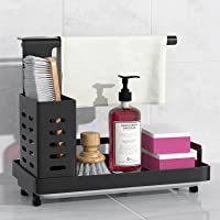Sink Caddy Sponge Holder Brush Soap Dishcloth Holder with Drain Pan Stainless Steel Caddy Organizer for Kitchen…