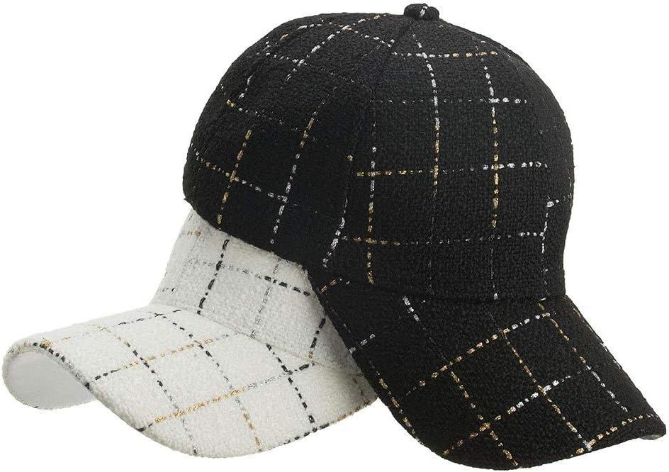 XJLSDIE Autumn and Winter Woolen Black and White Plaid Baseball Cap Outdoor Leisure Visor Baseball Cap Color : Black