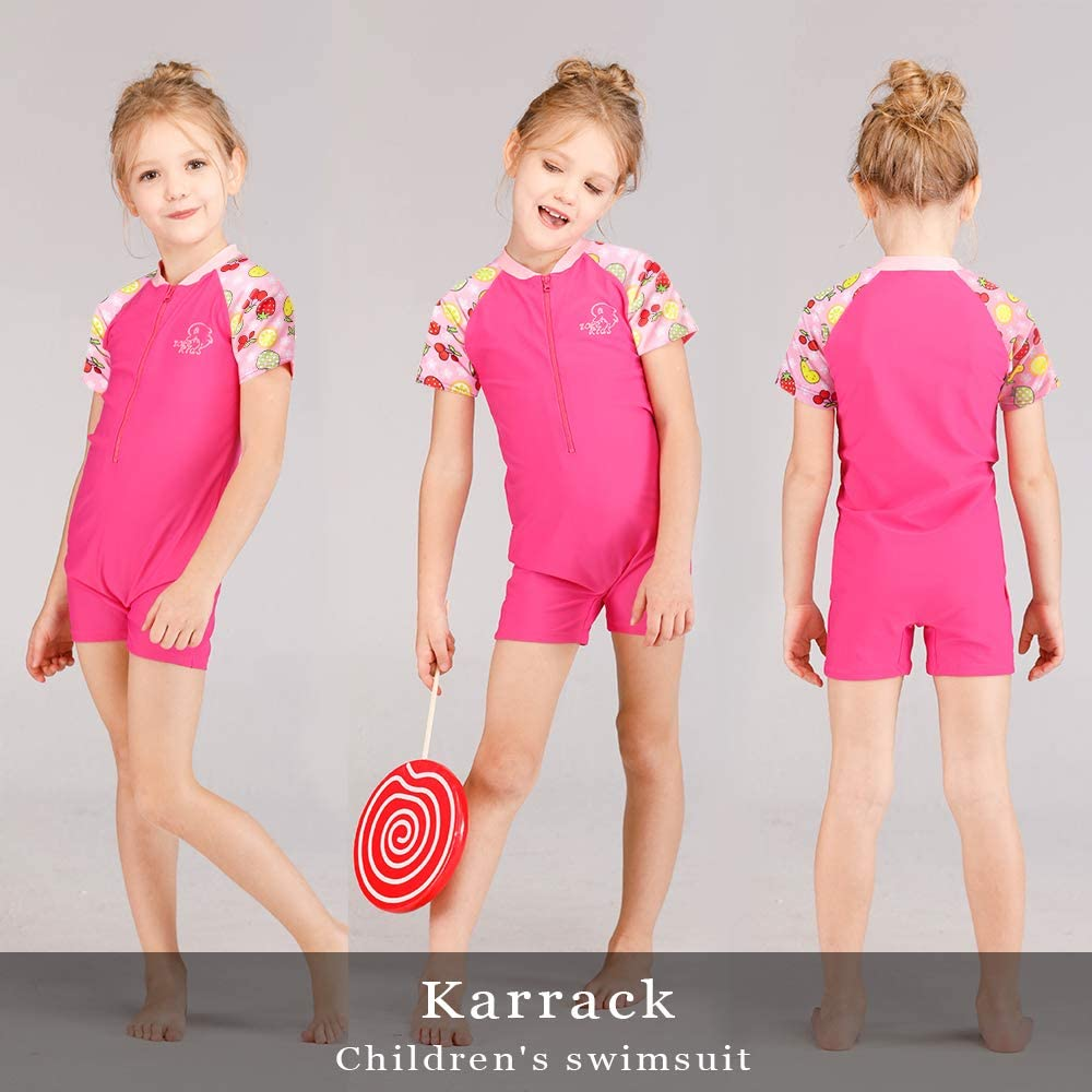 Karrack Kid One Piece Rash Guard Swimsuit Girls Water Sport Short Swimsuit UPF 50 Sun Protection Bathing Suits