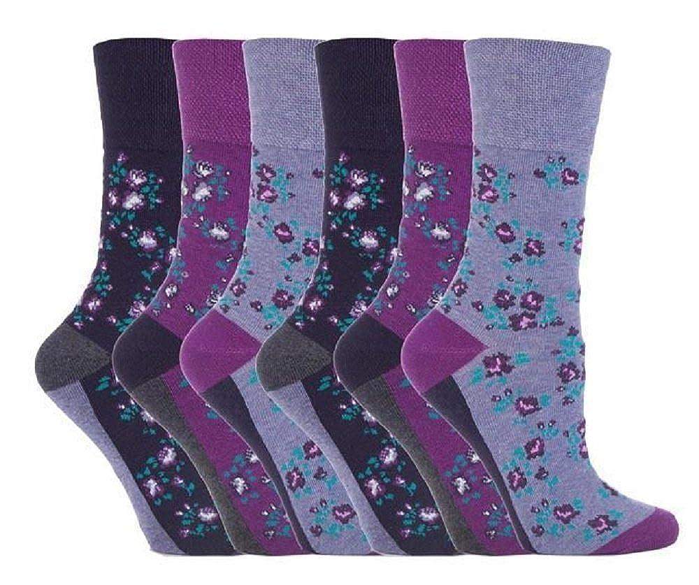 6 Pairs Women's Sockshop Cotton Gentle grip socks 4-8 uk, 37-42 eu Floral Purple GG57