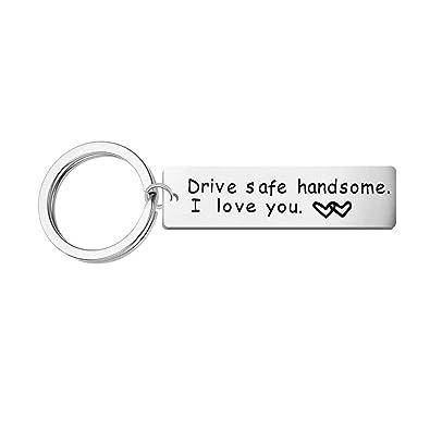 AnazoZ Llavero Rectangular Grabado Drive Safe Handsome. I ...
