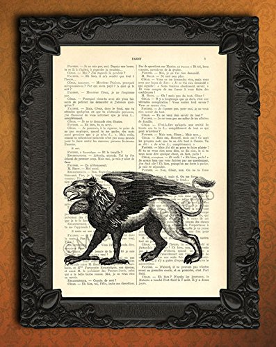 griffon-wall-art-griffin-book-page-artwork-mythical-animal-decor-french-antique-dictionary-print