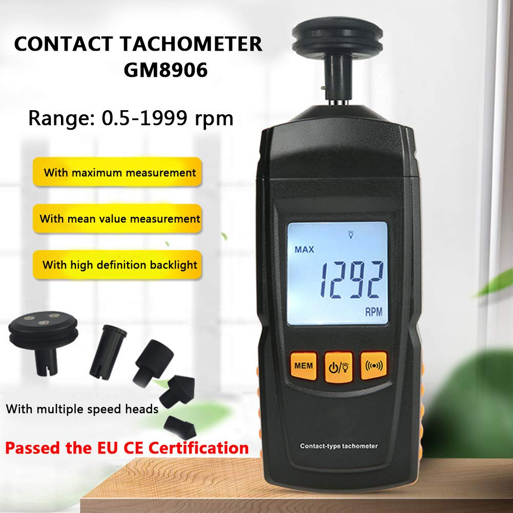 Digital Tachometer Handheld,Handheld LCD Digital Tachometer with 4 Different Connecting Head,Tach Rotate Speed Meter Non-Contact,Suppoert RPM,REV,Hz,etc.