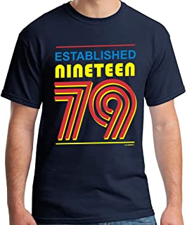 40th Birthday Gifts For Men Established 1979 T Shirt Navy Blue