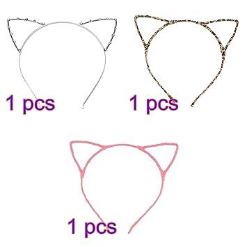 Pixnor 3pcs gato orejas niño diademas adultos disfraces lindo Traje Cosplay gato orejas por cable las vendas: Amazon.es: Hogar