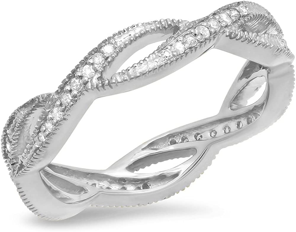 Dazzlingrock Collection 0.20 Carat (ctw) 14K Gold Round White Diamond Ladies Wedding Eternity Band Stackable Ring 1/4 CT