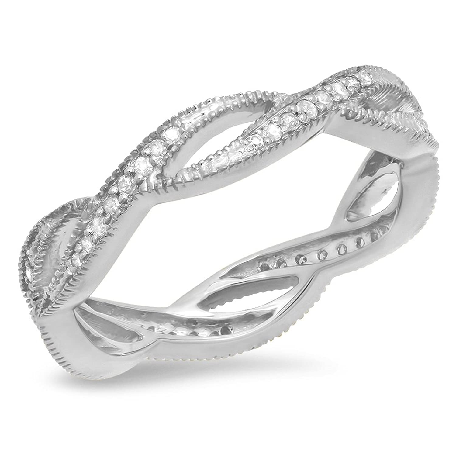 0.20 Carat (ctw) 14K Gold Round White Diamond Ladies Wedding Eternity Band Stackable Ring 1/4 CT