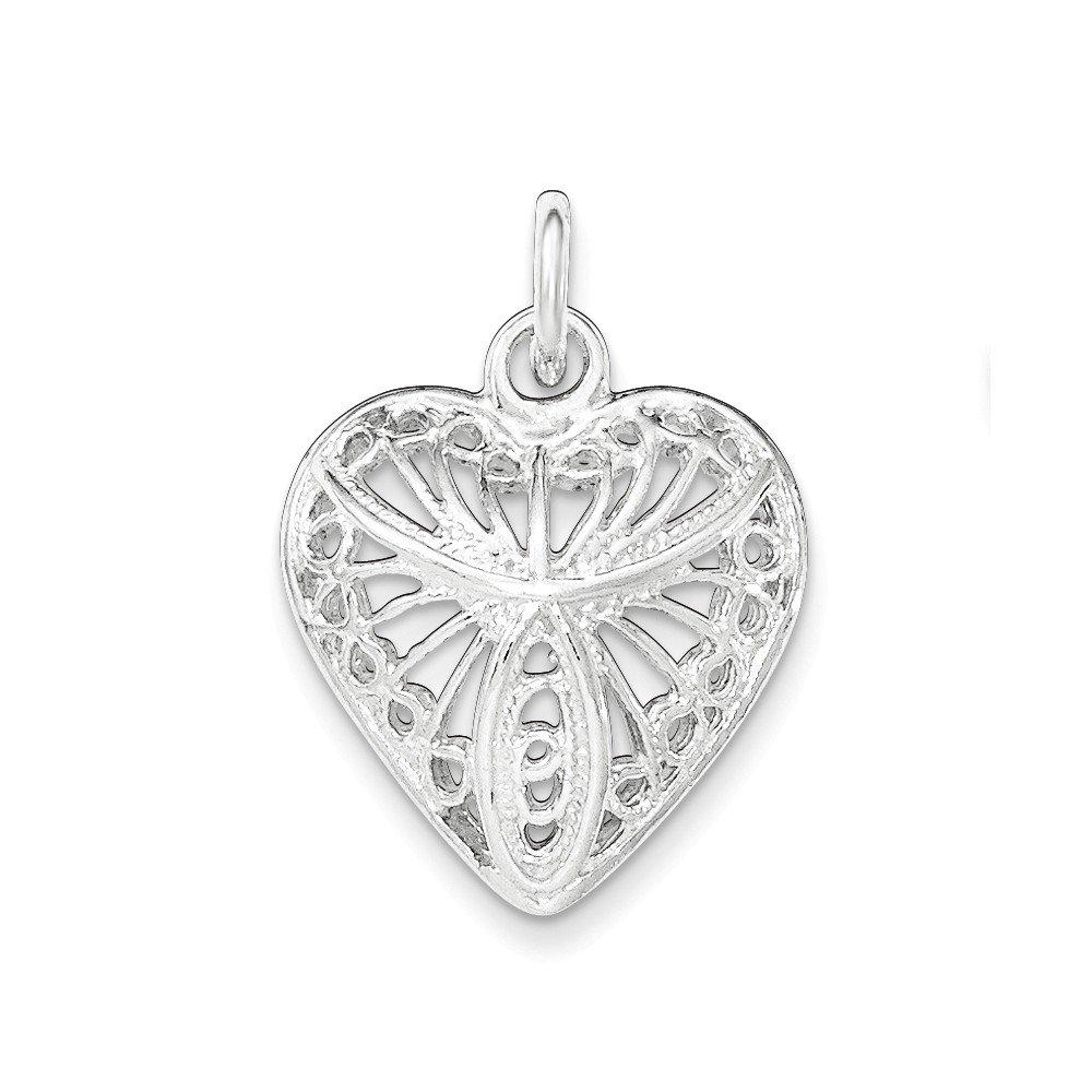 Sterling Silver Polished /& Filigree Heart Pendant