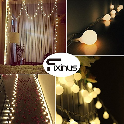 Fixinus 50 LED Globe String Lights, 16.4 FT Battery Operated Waterproof Ball Lights with Remote Control 8 Modes Fairy Lights Warm White for Wedding Halloween Party Indoor Outdoor Decoration Review.