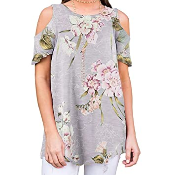 8ad53faa465af ESAILQ Tops Ladies Flowers Cold Shoulder T-Shirt Round Neck Tank Casual  Blouse: Amazon.co.uk: Sports & Outdoors