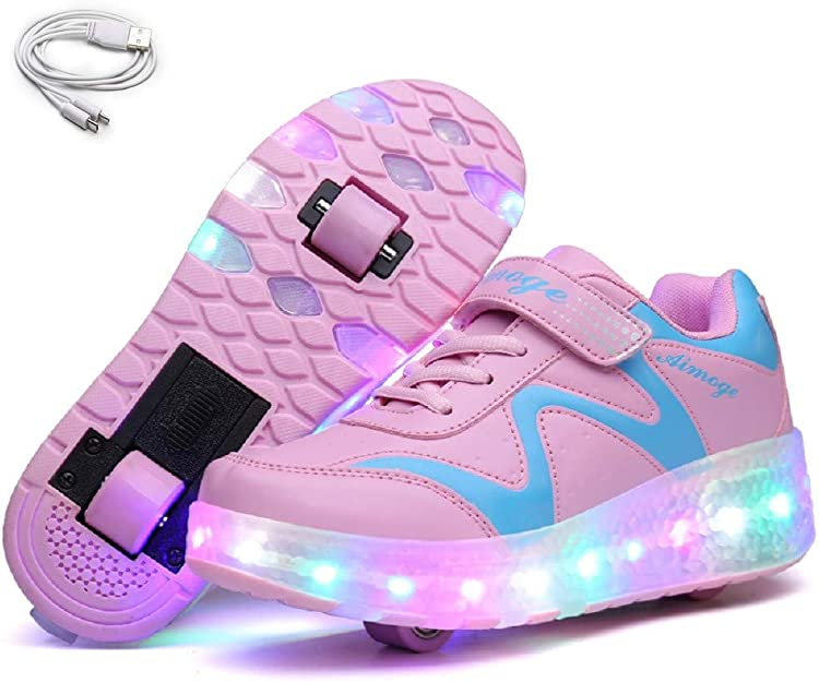 HRUI Roller Skate Shoes Girl boy Wheel Shoe Child Wheel Sneaker Pulley Sneaker Wheel Colored Lights.