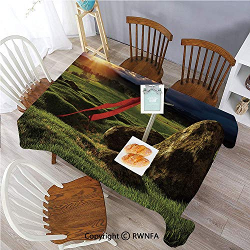 Tablecloths Arthur Camelot Legend Myth in England Ireland Fields Invincible Sword Image Stain Resistant and Spillproof Dining Room Washable Polyester Table Cloth 55 x 70 inch Green Blue and Red