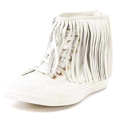 9acbaa91cc41 Converse Women s Chuck Taylor All Star Fringe White Leather HI Fashion  Sneaker ...