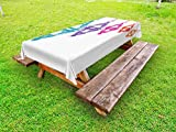 Ambesonne Lantern Outdoor Tablecloth, Sacred Religious Celebration with Hanging Fanoos Arabian Festivities Theme Print, Decorative Washable Picnic Table Cloth, 58 X 84 inches, Multicolor