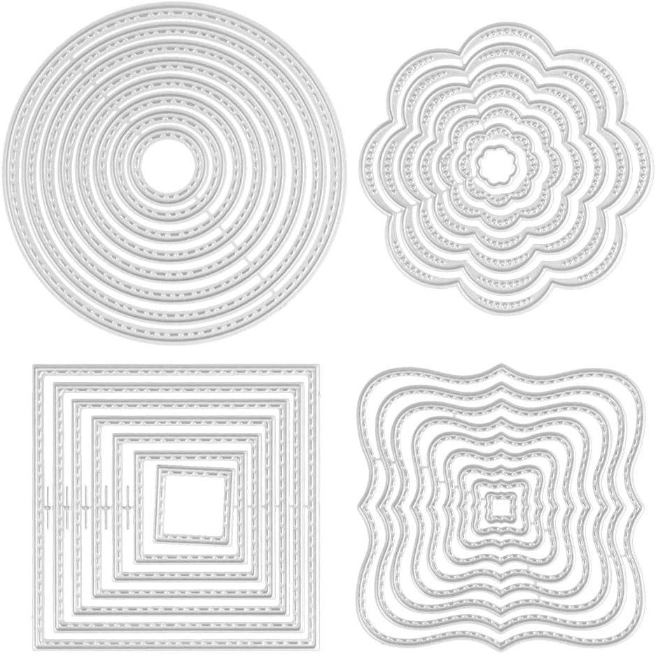 RODPLED 4 Pezzi Fustelle da Taglio Stencil Metallo Modello Stampi per Album di Foto in Rilievo Fai-da-te Creazione Carta Scrapbooking Fustelle in Metallo per Goffratura