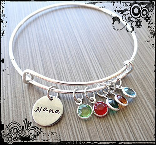 Nana Wire Bracelet with Grandkids Birthstone Charms