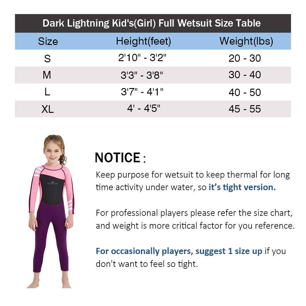 dark lightning Kids Wetsuit Full Thermal Suit, Grils Neoprene One Piece Fishing Suits, 2mm Long Sleeve Swimsuit for Children Scuba Diving, Surfing, Paddling, Swimming, Pink, XL Size by dark lightning