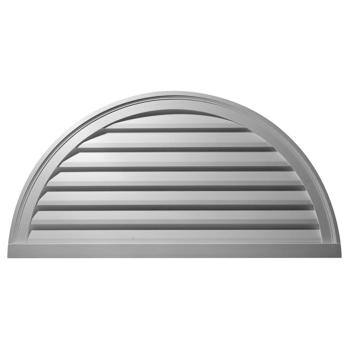 Ekena Millwork GVHR60D 60-Inch W x 30-Inch H x 2 1/2-Inch P Half Round Gable Vent Louver, Decorative
