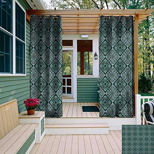 (leinuoyi Floral, Outdoor Curtain of Lights, Vintage Classic Damask Baroque Curved Flower Branches Rococo Ornate Feminine, Outdoor Privacy Porch Curtains W84 x L96 Inch Emerald Turquoise)