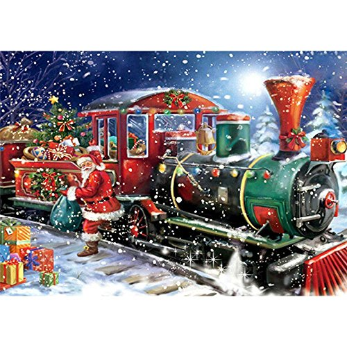NIHAI DIY 5D Diamond Painting Kit, Halloween Christmas Train Diamond Paintings Rhinestone Embroidery Cross Stitch Arts Craft Canvas Wall Decor for Living Room or Birthday -
