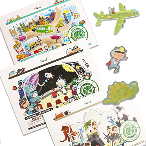 ROBUD Reusable Sticker Pads Set:City Life/Ancient Times/Space Adventure(3 Pack),Colorful Stickers for Kids,15 Different Scenes