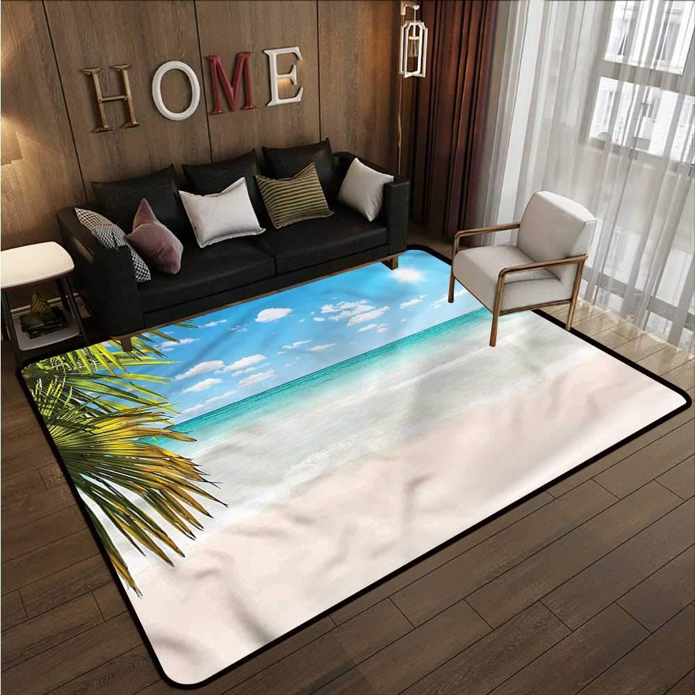 """Ocean,Anti-Slip Cooking Kitchen Carpets 80\""""x 120\"""" Caribbean Beach Clear Sea Non-Slip Area Rug Pad"""