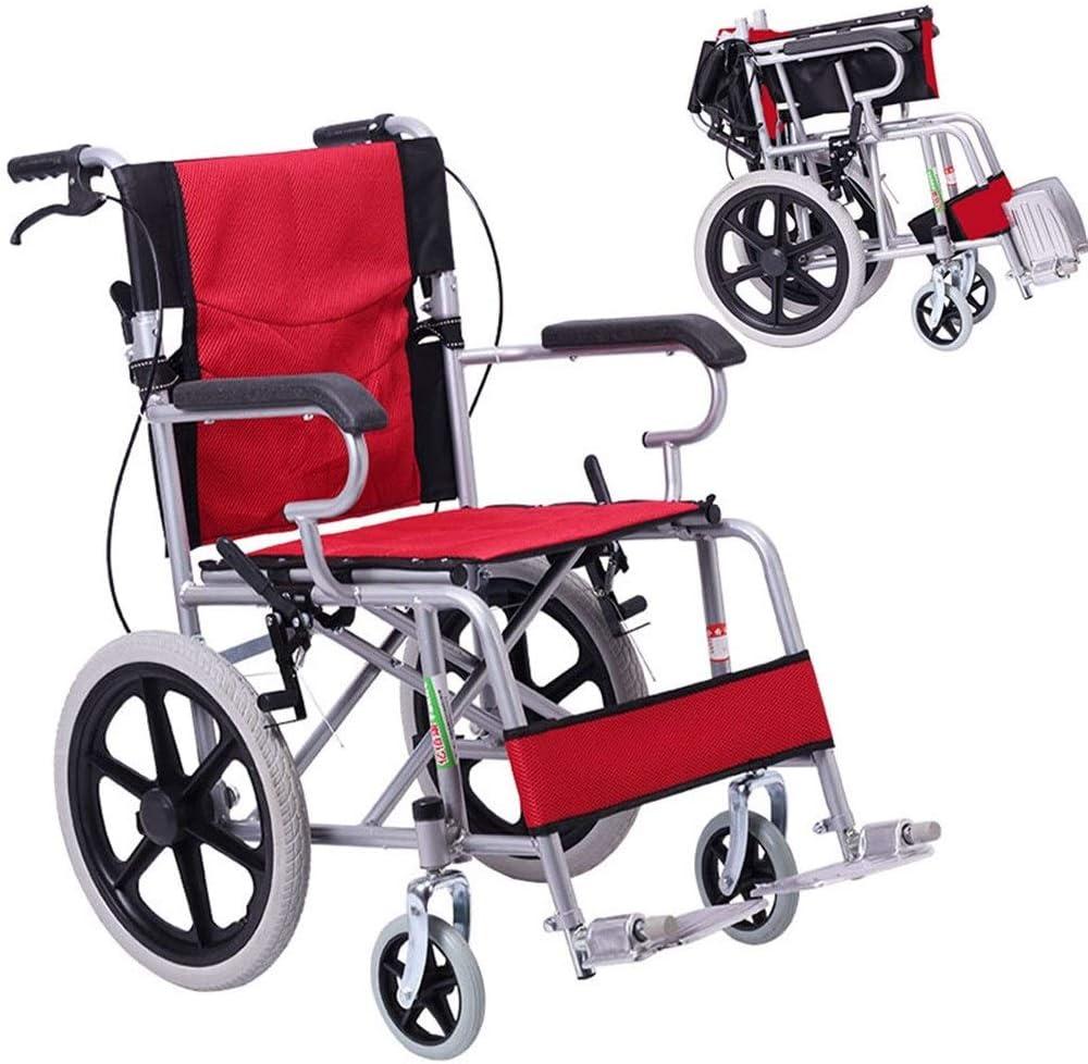 Silla de Ruedas Wheelchair Silla De Ruedas Plegable Ligera Con Frenos De Mano,Marco De Aluminio Plegable, Silla De Ruedas Compacta For Viajes De Tránsito For Usuarios Mayores, Discapacitados Y Discapa