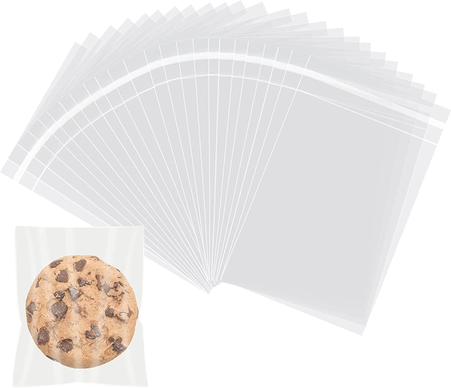 Self Sealing Cellophane Bags,3x5 Inch Cello Bags, Resealable Cellophane Plastic Bags Self Adhesive for Packaging Gifts, Products,100 Pcs
