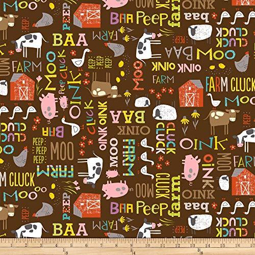 Studio E Fabrics Wildflower Farm Words Fabric, Chocolate, Fabric By The Yard