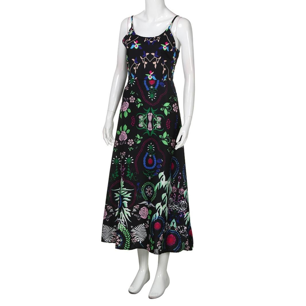 Vestidos mujer casual largos verano, VENMO Mujeres bohemios de impresión floral de la Honda vestido largo sin mangas de verano playa vestido camisolas playa ...