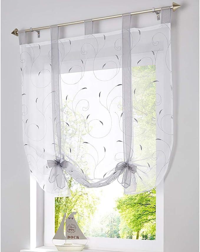 SIMPVALE - Cortina Visillo de Gasa Elevable con Cintas - Translúcido Persianas Romano Bordado para Cocina Balcón - Gris - 140cm x140cm: Amazon.es: Hogar
