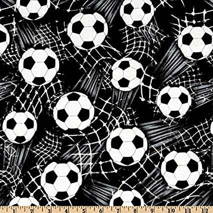 49c5d17fc Amazon.com: Timeless Treasures CJ-153 Soccer Balls Black Fabric by The Yard