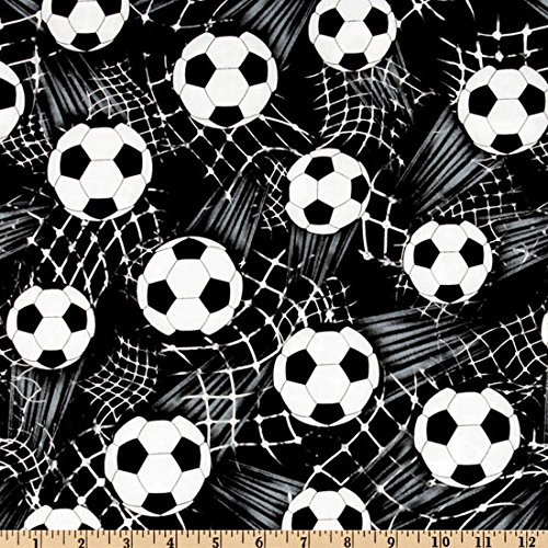Timeless Treasures CJ-153 Soccer Balls Black Fabric by The Yard,]()