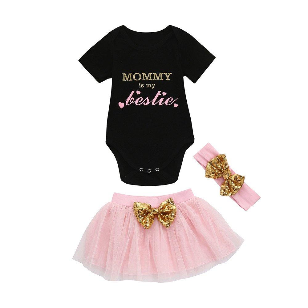 WUAI Toddler Baby Girls Clothes Sets Short Sleeve Romper Jumpsuits + Pink Tutu Skirt + Princess Headband(Black,12-18Months)